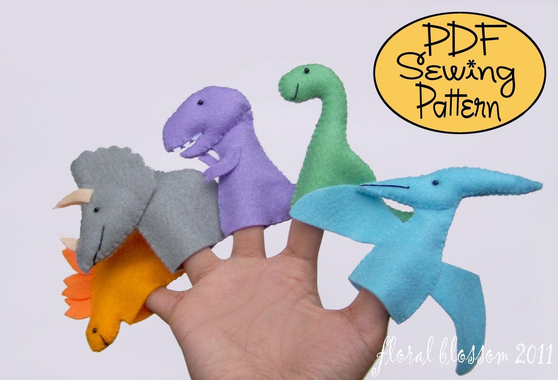 +Felt+Finger+Puppets Digital Pattern: Prehistoric Friends Felt Finger ...