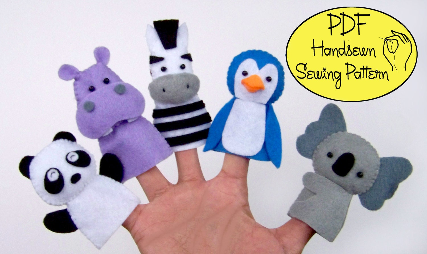 Digital Pattern: Zoo Friends 02 Felt Finger Puppets from ...