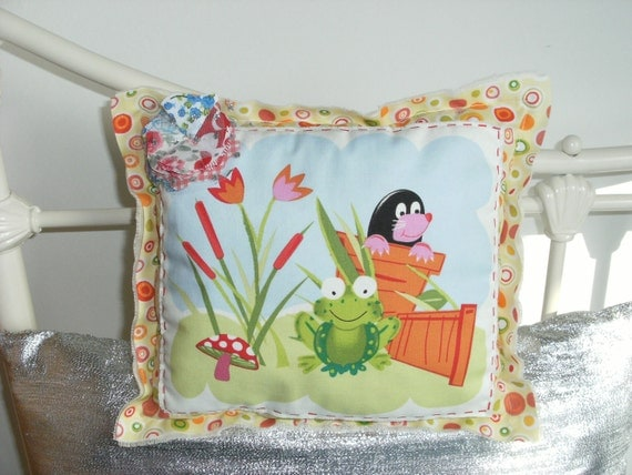 Mole, frog, polka dot toad stool pillow / cushion. Promotion Sale on cushion / pillow