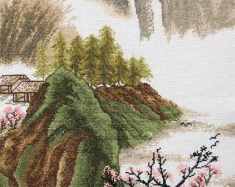 New Finished Completed Cross Stitch - Scenery -