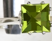 Peridot Tic-Tac-Toe Custom Cut August Birthstone Handmade Silver Ring
