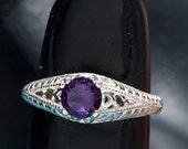 Amethyst Antique Filigree Design Unique Engagement Ring with Heart Motif