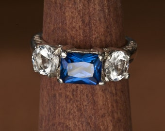 Blue Spinel, Blue Sapphire or Hydrothermal Emerald and White Topaz Unique Engagement Ring