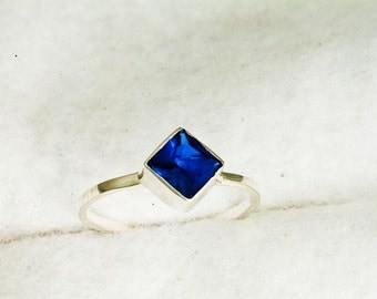Blue Spinel 6MM Princess Cut Argentium Silver Stacking Ring, Layering Ring, Spinel Ring