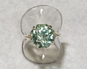Prasiolite Green Amethyst  Rose Petal Cut 9 carat Unique Engagement Ring, Alternative Engagement, February Birthstone Ring