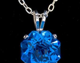 Blue Quartz  Rose Petal Cut Sterling Silver Pendant