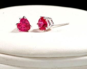 Ruby Heart shaped Stud Earrings, Ruby Studs, July Birthstone