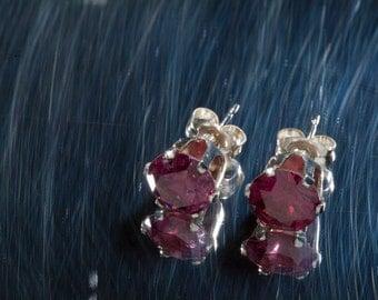 Rhodolite Garnet Earrings AAA Grade January Birthstone Studs, 2nd Anniversary Gift