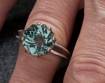 Green Amethyst Alternative Color Unique Engagement Ring 9ct Rose Petal Custom Cut, February Birthstone, Statement Ring, Cocktail Ring