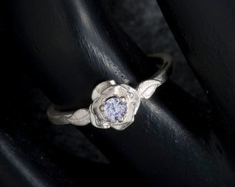 White Sapphire Unique Engagement Ring, Rose Floral Ring