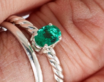 Oval Emerald Unique Engagement Ring, Stacking Ring, May birthstone Ring