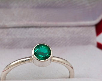 Natural Columbian Muzo Emerald Alternative Engagement Ring, May Birthstone Ring, Unique Engagement Ring