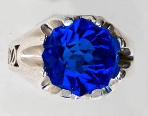 Blue Quartz Sterling Silver Ring 9ct Rose Petal Custom Cut Unisex Statement Ring