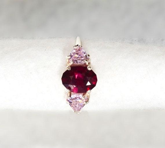 Almandine Oval Garnet 1.49 ct  and Pink Trillion 3 Stone Ring, January Birthstone