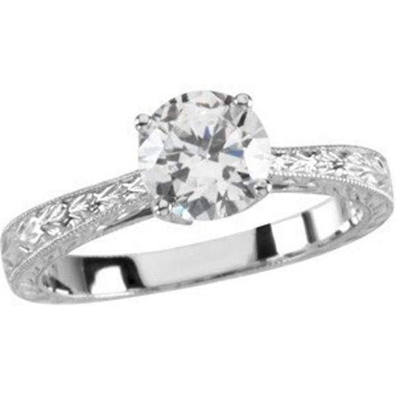 1 Ct. White sapphire Tulip design 14kt white gold Hand Engraved Engagement Ring