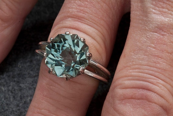 Green Amethyst Alternative Color Unique Engagement Ring 9ct Rose Petal Custom Cut