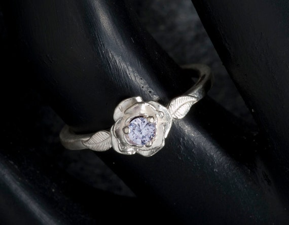 White Sapphire Unique Engagement Ring