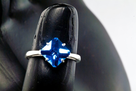 Fleur de lis design Custom Cut Blue Quartz Alternative Engagement Ring