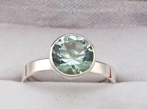 Green Amethyst Unique Engagement Ring & February birthstone