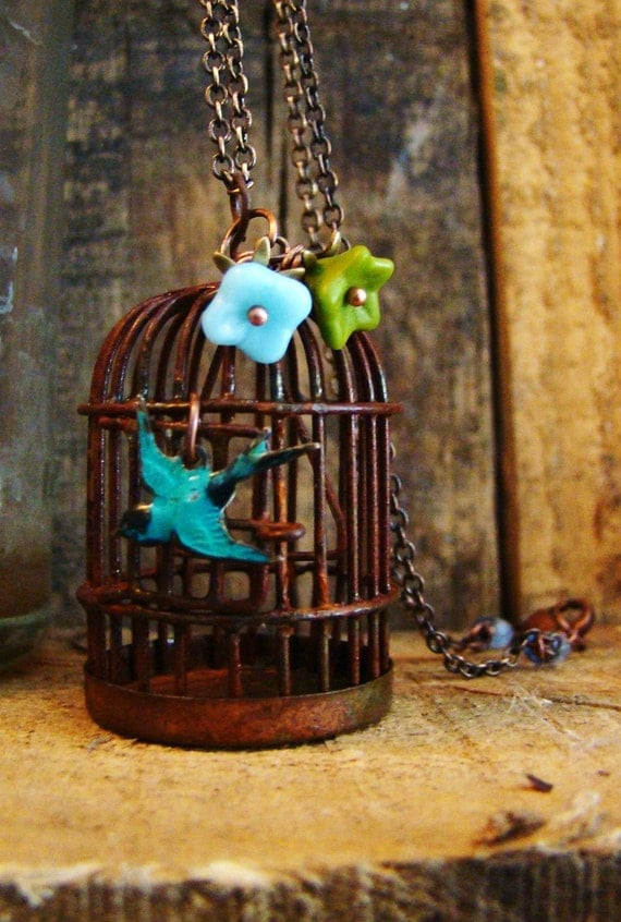 Mister Bluebird - Rustic Birdcage Pendant Necklace FREE SHIPPING