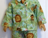 American Girl Doll Clothes JUNGLE BABY ANIMALS flannel pajamas  Made In America