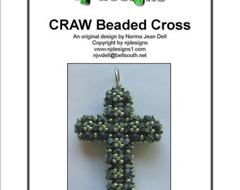 Beading Tutorial for RAW Beaded Cross, jewelry pattern, beadweaving tutorials, instant download, PDF