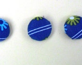 Pinstripes and Flowers -- Fabric Covered Magnets
