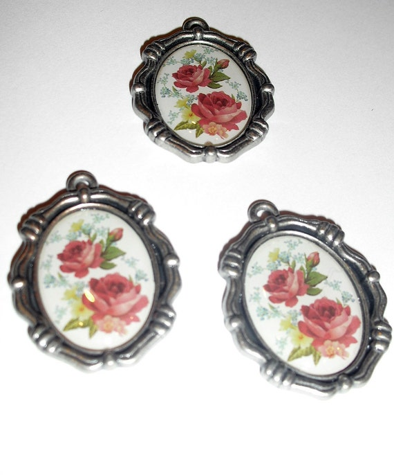 3 Antique Style Silver Pendants with Floral Centers