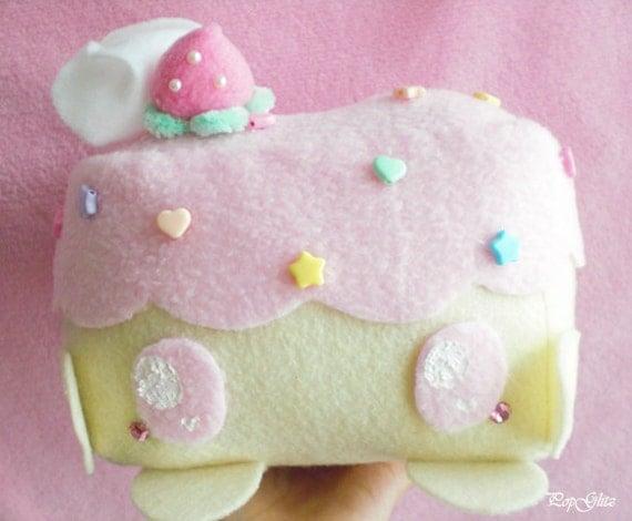 Strawberry/Vanilla Cake Cellphone/Music Electronics Plush Plushie Holder Kawaii Cute Fairy Kei Decora Deco OTT Sweet Lolita Girly Room Decor