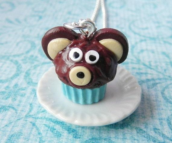 Teddy bear cupcake pendant