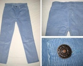 Deadstock 70s LEVIS 519 BABY/POWDER Blue Straight Cut Corduroy Pants 32 x 29