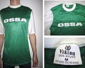 DEADSTOCK 70s OSSA Viking MOTOCROSS Green Nylon Jersey Medium