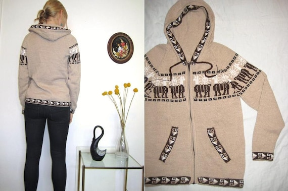 60s/70s NAVAJO INDIAN HOODIE aztec hooded bohemian zip sweater Medium
