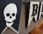 Beware Banner - Pirate Party - Halloween Banner - Skulls - Glitter Banner