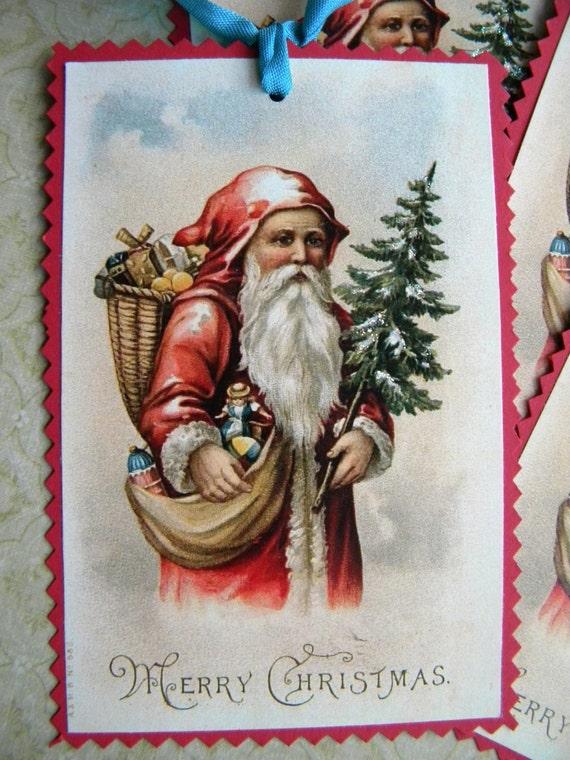 Vintage Style Santa Tags...set of four
