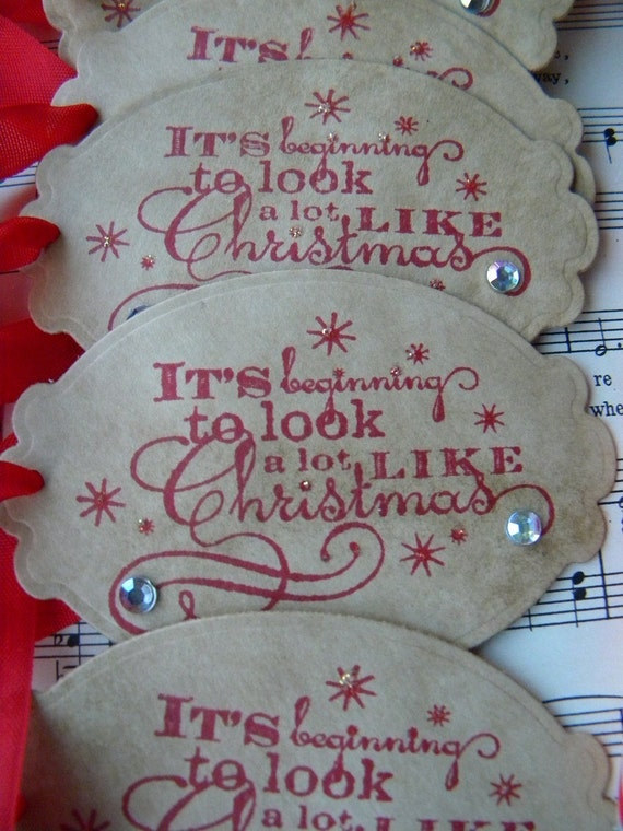 Christmas Tags (It's Beginning to Look a lot like Christmas) ... set of 6