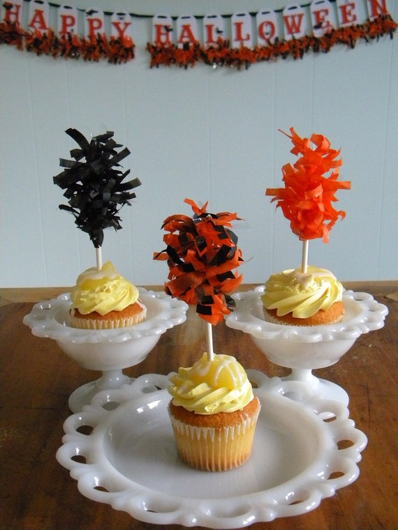 Cupcake Toppers - Halloween - Tissue Toppers - tissue puff - Orange and Black