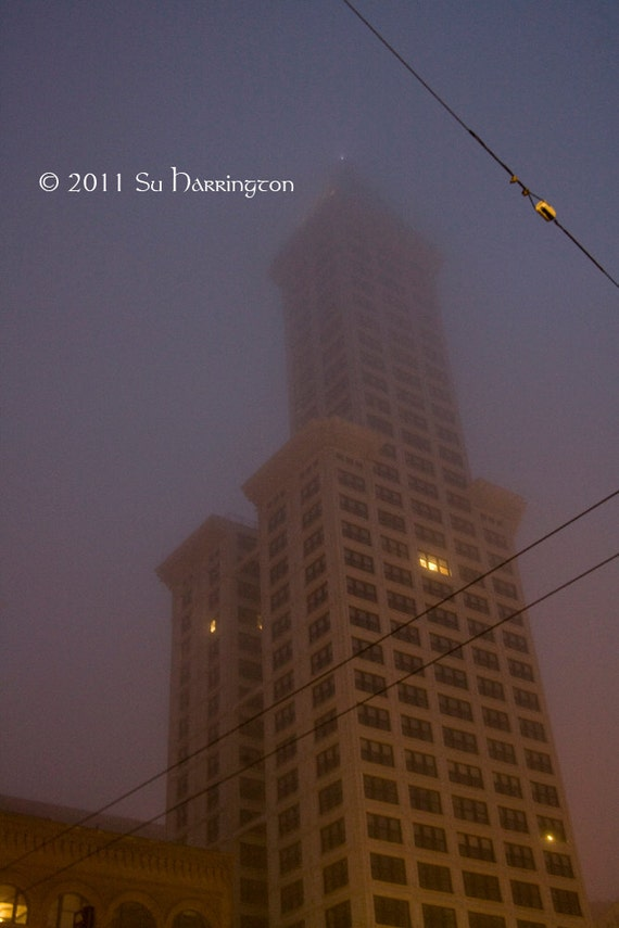 Light in the Window - 8 x 12 Smith Tower Seattle on a foggy morning