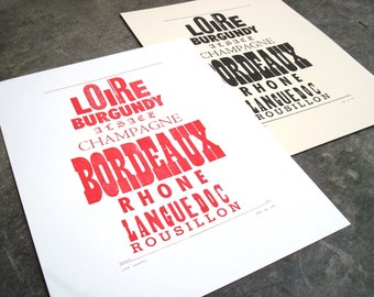 Wine Country/Pays du vin, Letterpress Broadside