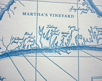 Martha's Vineyard, Letterpress Printed Map (Nautical Blue)