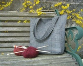 Wool check knitting bag