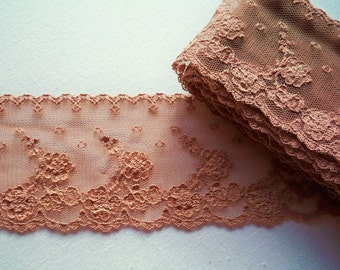 Vintage Lace - Milk Chocolate - 66mm Wide, available in 1 - 3 yard lengths