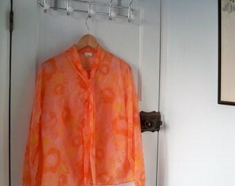 Vintage 1970s Orange Nylon St Michaels Ladies Blouse