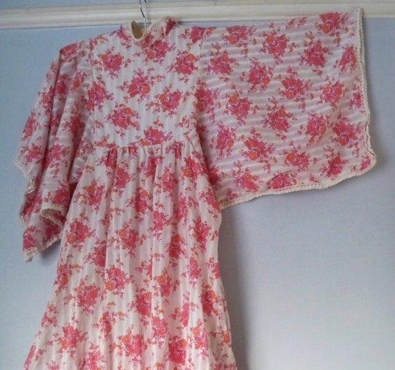 Original Floor Length 1970s Layered Maxi Kimono Sleeve Festival Dress