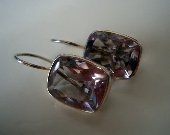 Sterling Silver Earrings with Beautiful Quartz Gems