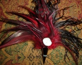 Gothic\/victorian\/steampunk\/dark noir gunmetal feather DALI inspired buttoniere\/brooch