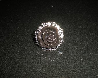 Full bloom BLACK ROSE filigree ring gothic/steampunk/vampire