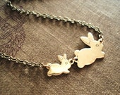 Bunny Necklace, Rabbit Charms in Brass, Mom and Baby Jewelry, Mother and Child, Rabbit Jewelry, Pendant Necklace, Easter Necklace, Spring
