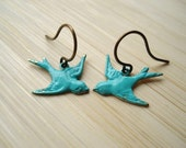 Bird Earrings, Blue Swallow Charms on Antiqued Brass, Dangle Earrings, Bluebird, Drop Earrings, Everyday Jewelry