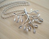 Tree Necklace, Silver Pendant Necklace, Branch with Leaves, Modern Jewelry, Tree of Life, Gift for Her